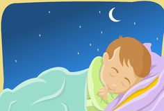 Sleeping Like A Baby. An image of a child sleeping peacefully in a bed while the moon and the stars shine brightly in the night sky Royalty Free Stock Photos