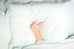 Sleeping like. Sleeping under the blanket with a big like on the pillow Royalty Free Stock Image