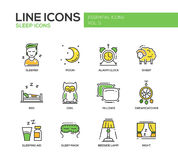 Sleeping - line design icons set Royalty Free Stock Photos