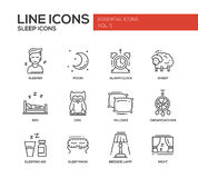 Sleeping - line design icons set Stock Photography