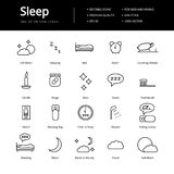 Sleeping Line Icons Stock Images