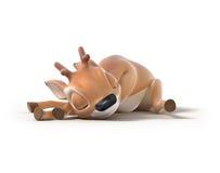 Sleeping little cartoon deer Stock Images