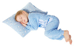 Sleeping little child. Cute little child sleeping on pillow. Magic background Royalty Free Stock Images