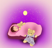 Sleeping little Child. A little child sleeping with a teddy bear, and there are a moon and stars over the bed Stock Images
