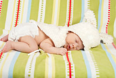 Sleeping little Easter newborn baby Royalty Free Stock Photos