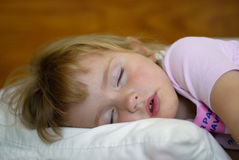 Sleeping Little Girl Portrait Stock Image