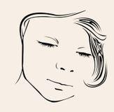 Sleeping little girl vector royalty free illustration