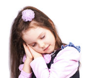 Sleeping little princess, close up. On white royalty free stock photos