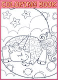 Sleeping little unicorn from fairy tale on the. Coloring book page. Sleeping little unicorn from fairy tale on the moon Stock Image