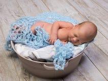 Sleeping lovely newborn boy stock image