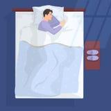 Sleeping man in bad at night near window. Vector illustration. Sleeping man in bad at night near window Stock Photo