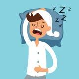 Sleeping man in bad vector illustration Stock Photo