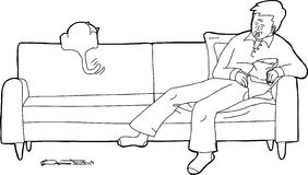 Sleeping Man with Cat on Sofa. Cartoon of sleeping man with cat chasing mouse Royalty Free Stock Images