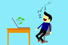 Sleeping Man while Get Earn from Computer. Simple illustration, Sleeping Man - Get Earn from Computer Stock Photos