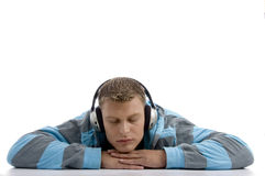 Sleeping man with headphone Stock Photo