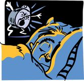 Man and alarm clock. Sleeping man in morning with angry alarm clock waking him up Royalty Free Stock Photography