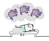 Sleeping man & nighhtmare. Hand drawn cartoon characters Stock Photos