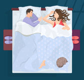 Sleeping man and woman in bad at night near window. Vector illustration. Royalty Free Stock Images