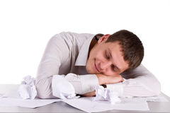 Sleeping manager. On worker place Stock Photo