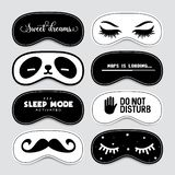 Sleeping mask design set. Vector vintage illustration. vector illustration