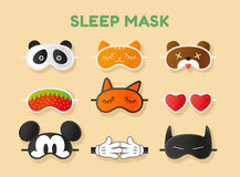 Sleeping masks set. Vector illustration Stock Photo