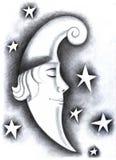 Sleeping moon. At the sky and stars around Stock Photo