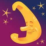 Sleeping Moon. Illustration of a sweet sleeping moon Royalty Free Stock Photography