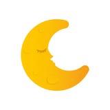 Sleeping moon cartoon Royalty Free Stock Image