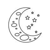 Sleeping moon cartoon Stock Photos