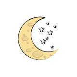 Sleeping moon cartoon Stock Photo