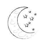 Sleeping moon cartoon Stock Images