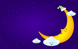 Sleeping moon and clound on the star night background Stock Images