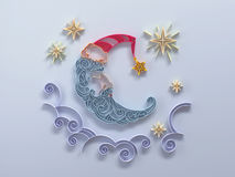 Sleeping moon decoration quilling Royalty Free Stock Images