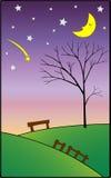 Sleeping moon and falling star at night Stock Photography