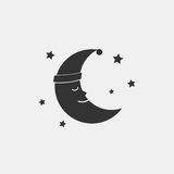 Sleeping moon icon in nightcap and stars isolated on background. Crescent in hat Stock Photography