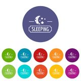 Sleeping moon icons set vector color. Sleeping moon icons color set vector for any web design on white background royalty free illustration