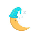 Sleeping moon in nightcap isolated on white background. Crescent in hat. Illustration Stock Photography