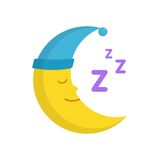 Sleeping moon in nightcap isolated on white background. Crescent in hat Royalty Free Stock Images