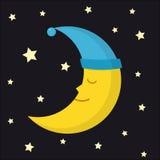 Sleeping moon in nightcap and stars on dark night background. Crescent in hat Stock Photos