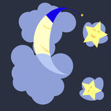 Sleeping moon and stars in the dark blue midnight sky Royalty Free Stock Images