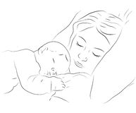 Sleeping mother and baby icon Royalty Free Stock Photos