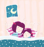 Sleeping mother and child. Mother and child are sleeping in bed during dark blue night. Cartoon vector Illustration Stock Photo