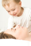 Sleeping mother and toddler Stock Photo