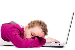 Sleeping on my notebook stock images