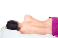 Sleeping naked woman with white towel. Beauty and health care concept
