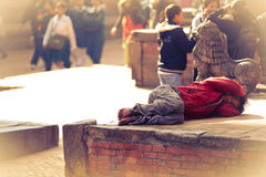 Sleeping nepalese man Stock Photos