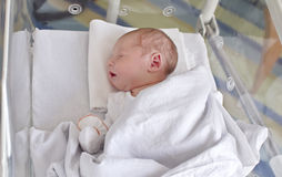 Sleeping new born baby. In maternity ward incubator Royalty Free Stock Photography