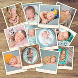 Sleeping newborn babies collage Stock Photography