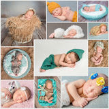 Sleeping newborn babies collage Stock Image