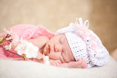 Sleeping  newborn baby (at the age of 14 days). Newborn baby (at the age of 14 days) sleeps in a knitted  hat Royalty Free Stock Image